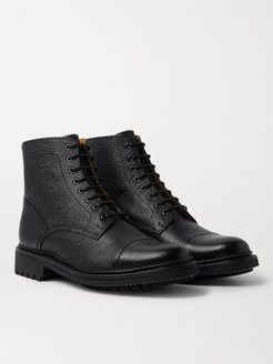 Joseph Cap-Toe Pebble-Grain Leather Boots - Men - Black