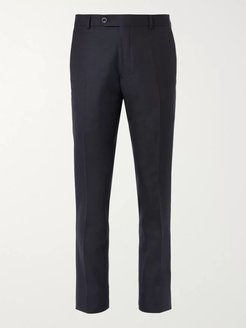 Slim-Fit Black Worsted Wool Trousers - Men - Blue