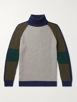 Colour-Block Cashmere and Wool-Blend Rollneck Sweater - Men - Multi