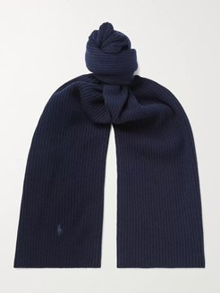 Logo-Embroidered Ribbed Wool Scarf - Men - Blue