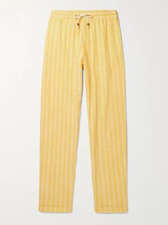 Tapered Herringbone Cotton Drawstring Trousers - Men - Yellow