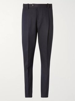 Slim-Fit Pleated Cotton-Blend Twill Trousers - Men - Blue