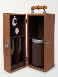 Full-Grain Leather and Bamboo Travel Champagne Cabinet - Men - Brown