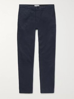 Straight-Leg Navy Garment-Dyed Cotton-Twill Chinos - Men - Blue