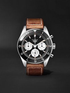 Autavia Automatic Chronograph 42mm Polished-Steel and Leather Watch, Ref. No. CBE2110.FC8226 - Men - Black