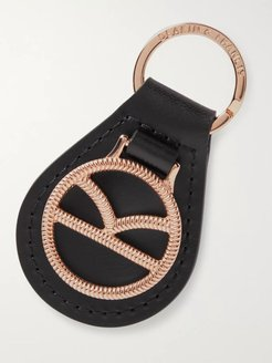 Deakin & Francis Leather and Rose Gold-Plated Key Fob - Men - Black