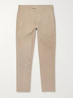 Gehry Slim-Fit Cotton and Linen-Blend Twill Trousers - Men - Neutrals