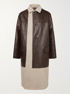 Layered Cotton-Gabardine and Leather Coat - Men - Neutrals