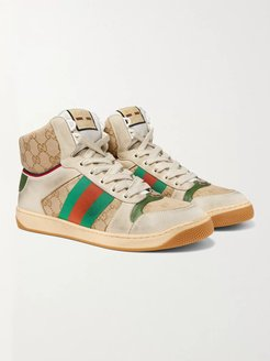 Screener Webbing-Trimmed Distressed Leather and Monogrammed Canvas High-Top Sneakers - Men - Neutrals