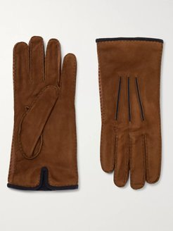 Damon Baby Cashmere-Lined Suede Gloves - Men - Brown