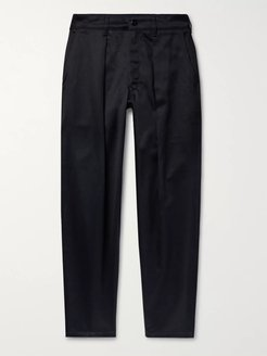 Tapered Pleated Cotton-Sateen Trousers - Men - Blue