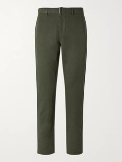 Paul Slim-Fit Belted Garment-Dyed Cotton and Linen-Blend Suit Trousers - Men - Green