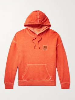 Grande Peace Embroidered Pigment-Dyed Loopback Cotton-Jersey Hoodie - Men - Orange