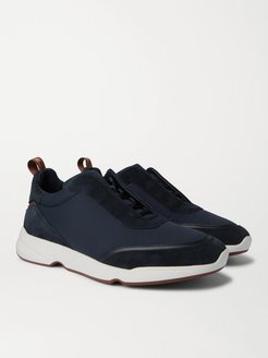 Modular Walk Leather-Trimmed Canvas and Suede Sneakers - Men - Blue