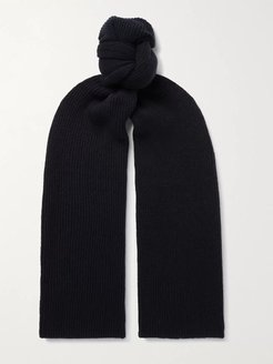 Ribbed Cashmere Scarf - Men - Blue