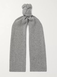 Ribbed Cashmere Scarf - Men - Gray