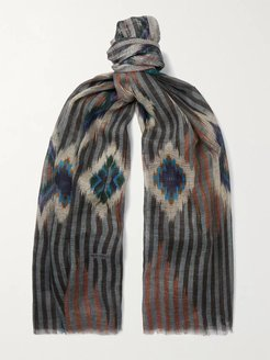 Fringed Printed Linen, Cashmere and Silk-Blend Scarf - Men - Brown