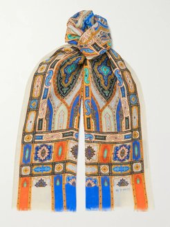Fringed Printed Linen and Silk-Blend Scarf - Men - Multi