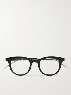 Round-Frame Acetate and Silver-Tone Optical Glasses - Men - Black