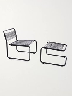 Steel and Leather Lounge Chair and Ottoman - Men - Black