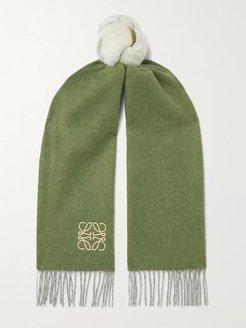 Window Logo-Embroiderd Colour-Block Wool and Cashmere-Blend Scarf - Men - Green