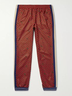 Tapered Webbing-Trimmed Printed Tech-Jersey Track Pants - Men - Multi