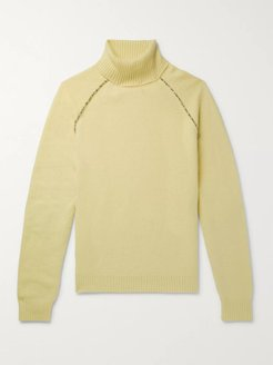 Appliquéd Cashmere Rollneck Sweater - Men - Yellow