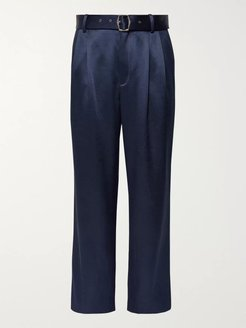 Andy Pleated Satin-Twill Trousers - Men - Blue