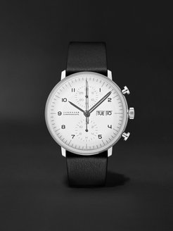Limited Edition Max Bill Chronoscope 40mm Stainless Steel and Leather Watch and Table Clock Set, Ref No. 363/2919.01 - Men - White