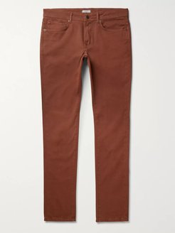 Navy Slim-Fit Stretch-Cotton Twill Trousers - Men - Red