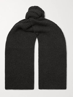Ribbed Mélange Merino Wool and Cashmere-Blend Scarf - Men - Gray