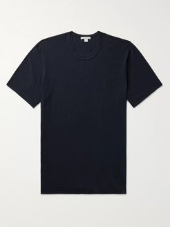 Printed Combed Cotton-Jersey T-Shirt - Men - Blue