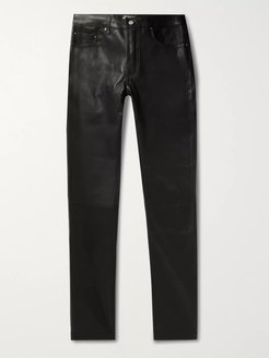 Skinny-Fit Leather Trousers - Men - Black