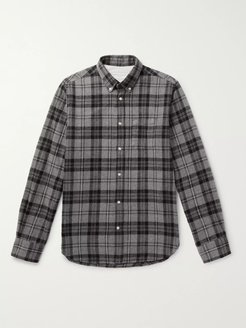 Antime Button-Down Collar Checked Brushed-Cotton Shirt - Men - Gray