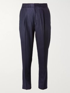 Drew Tapered Wool-Flannel Suit Trousers - Men - Blue