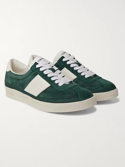 Bannister Leather-Trimmed Suede Sneakers - Men - Green