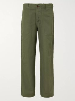 Herringbone Cotton and Linen-Blend Chinos - Men - Green