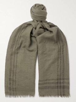Fringed Striped Cashmere Scarf - Men - Green