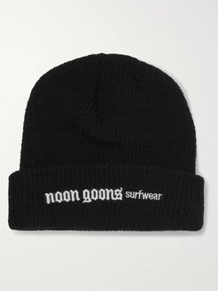 Logo-Embroidered Ribbed-Knit Beanie - Men - Black