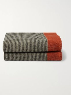 Set of Two Striped Cotton-Terry Shave Towels - Men - Multi