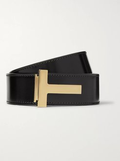 4cm Polished-Leather Belt - Men - Black