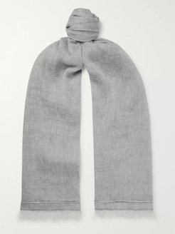 Fringed Linen and Cashmere-Blend Scarf - Men - Gray