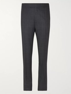 Grey Slim-Fit Prince of Wales Checked Wool Suit Trousers - Men - Blue