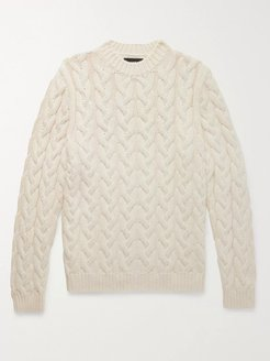 Cable-Knit Cotton-Blend Sweater - Men - Neutrals