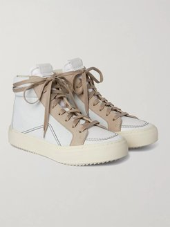 V1 Suede and Leather High-Top Sneakers - Men - White