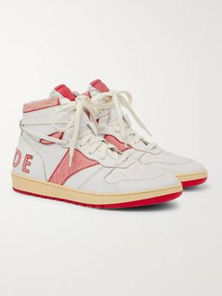 Rhecess Distressed Leather High-Top Sneakers - Men - Red