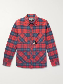 Disney Appliquéd Padded Checked Cotton-Flannel Overshirt - Men - Red