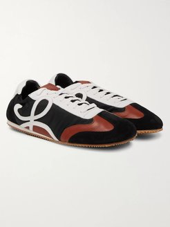 Leather and Suede-Trimmed Nylon Sneakers - Men - Black