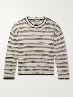 Open-Knit Striped Cotton and Wool-Blend Sweater - Men - Blue