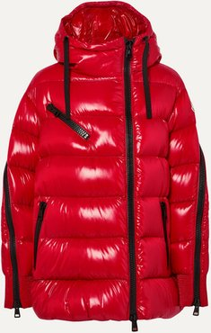 Liriope Hooded Quilted Glossed-shell Down Jacket - Red